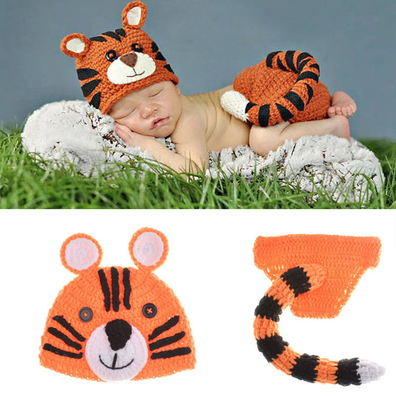 Baby Tiger Costume Outfit Newborn Infant Photography Props Handmade Crochet Baby Animal Beanie Hat with Tailed Pant H108