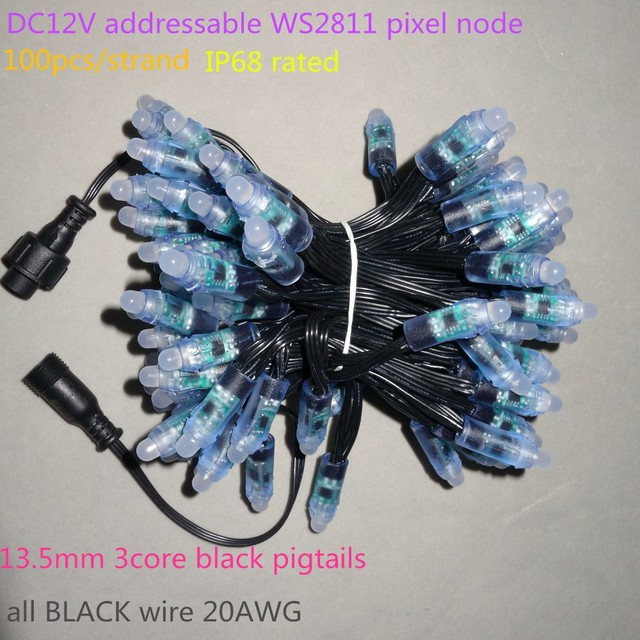 100 יח\סט DC12V מיעון 12mm WS2811 led חכם פיקסל צומת, RGB מלא צבע; כל שחור 18AWG) חוט, IP68; עם 2 m 13.5mm צמת