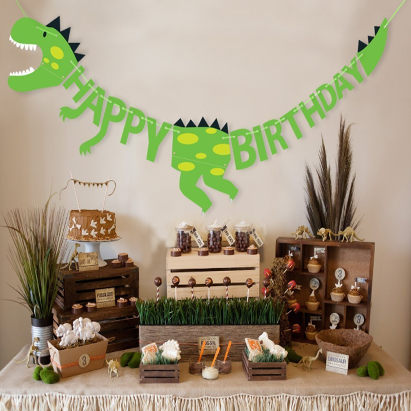 1 set Creative Dinosaur Party Banners Baby Shower Birthday Party Decorations Pennant Kids Event Party Supplies Birthday Party