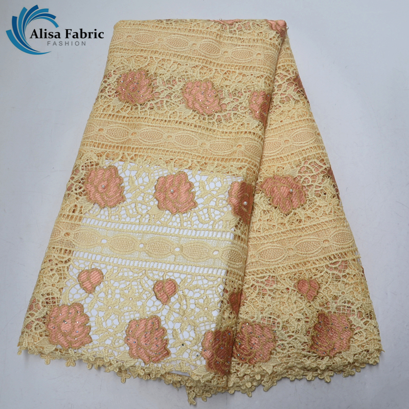 Latest Cord Lace Design High Quality African Lace Fabric 5 Yards pcs Embroidered Water Soluble Lace