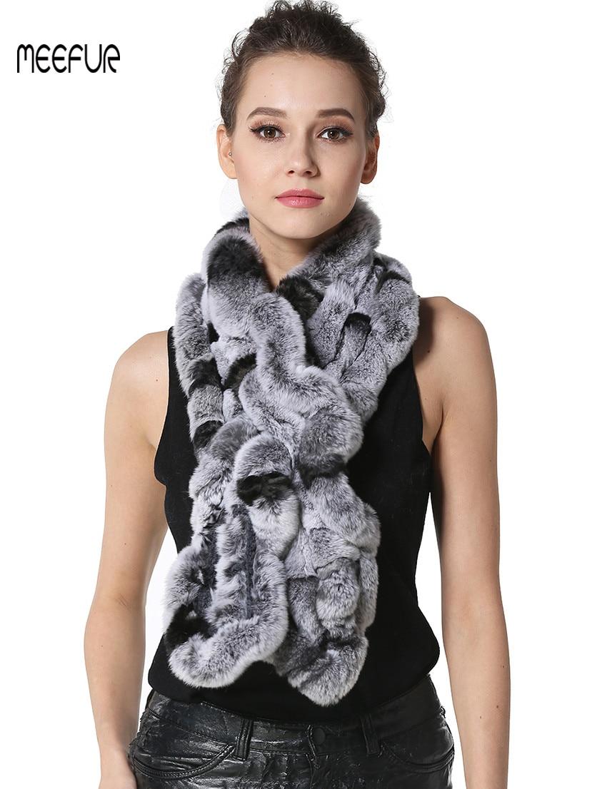 Kualitas tinggi Mode Womens Rajutan Rex Kelinci Bulu Syal Bulu Syal - Aksesori pakaian