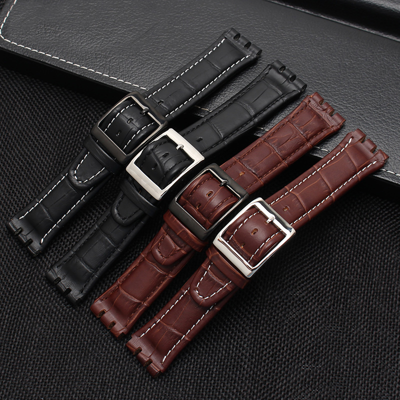 Image 5 - 17MM 19MM Genuine Calf Leather Watch Band Steel Clasp For Swatch Watch YRS YCS Strap Watchband Bracelet Man Fashion Wrist +Tools-in Watchbands from Watches