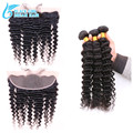 Malaysian Virgin Hair Deep Wave With Closure,13*4Ear To Ear Lace Frontal Closure With Bundles 3/4 Pcs/Lots Deep Wave