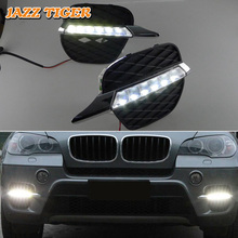 цены For BMW E70 X5 2011 2012 No-error Daytime Running Light LED DRL Fog Lamp Driving Lamp Car Styling