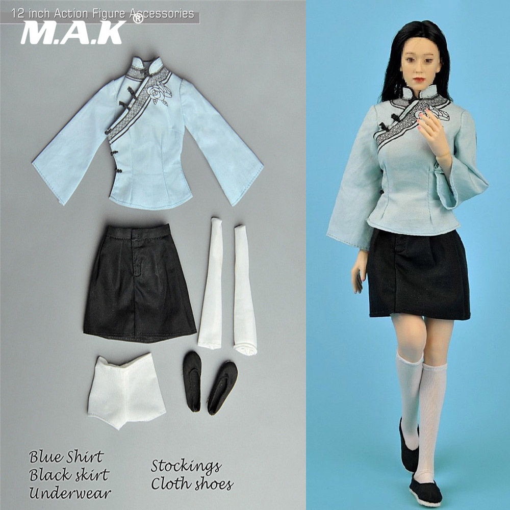 1/6 Scale Accessories The Republic of China Female Students Chinese Classic Gril Clothes Set Blue Shirt & Black Dress Figure map of the people s republic of china 1 6 000 000 chinese