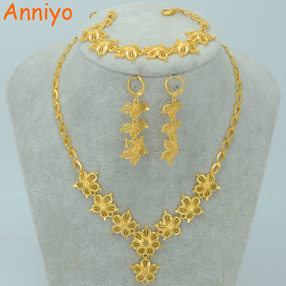 Anniyo Flower Jewelry Sets Necklace Earrings Bracelet Gold Color Blossom set Africa Ethiopian Wedding Arab 001710