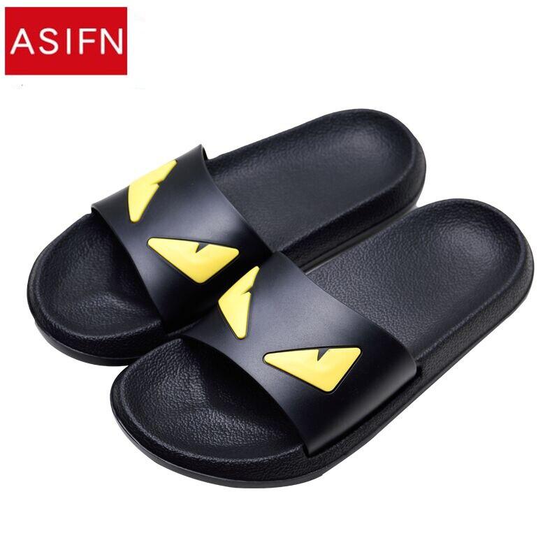 ASIFN Men's Slippers Women Massage Devil Men Shoes Eyes Flip Flops Cartoon Male Sandals Two Different Soles Summer Couples Man