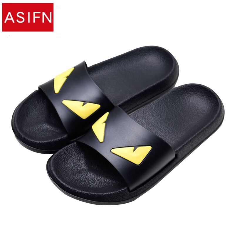 ASIFN Men's Slippers Women Message Devil Men Shoes Eyes Flip Flops Cartoon Male Sandals Two Different Soles Summer Couples Man