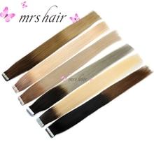 MRSHAIR T1B / Ασημένια Ταινία Ombre για τρίχες στις επεκτάσεις μαλλιών 20pcs Balayage Ανθρώπινα μαλλιά σε ταινίες Επέκταση μαλλιών Ευθεία 22Inches