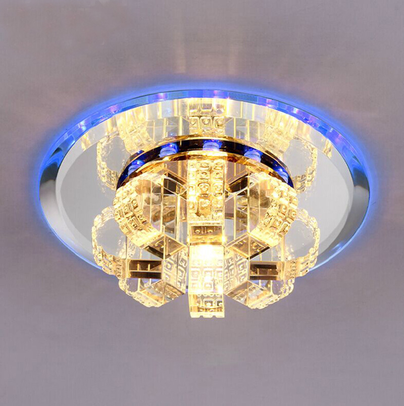 New Modern Crystal Led Hallway Lighting Living Room Lamparas De Techo Vristal Led Glass Ceiling Led Lamps 110V 220V Plafon Light noosion modern led ceiling lamp for bedroom room black and white color with crystal plafon techo iluminacion lustre de plafond