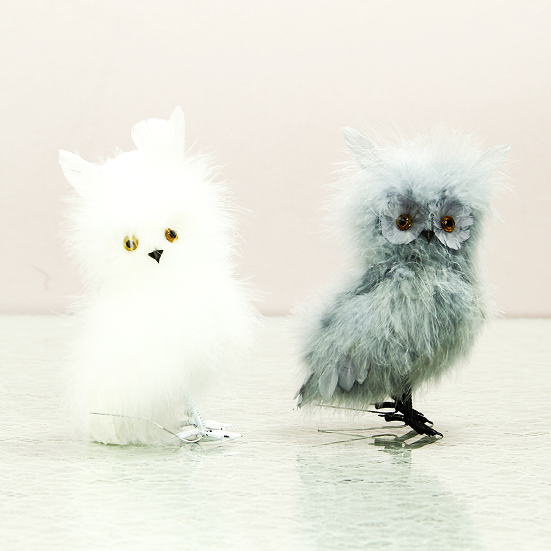 Cute Handmade Feather Owl Creative Animal Figurine Garden Ornaments Simulation Of Birds Artificial Sales By Factory