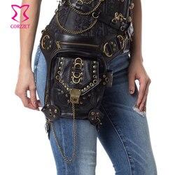 حزام خصر مشد Steampunk بسلسلة برشام من الجلد الصناعي الأسود حقيبة كتف كلاسيكية على الطراز القوطي للرجال والنساء