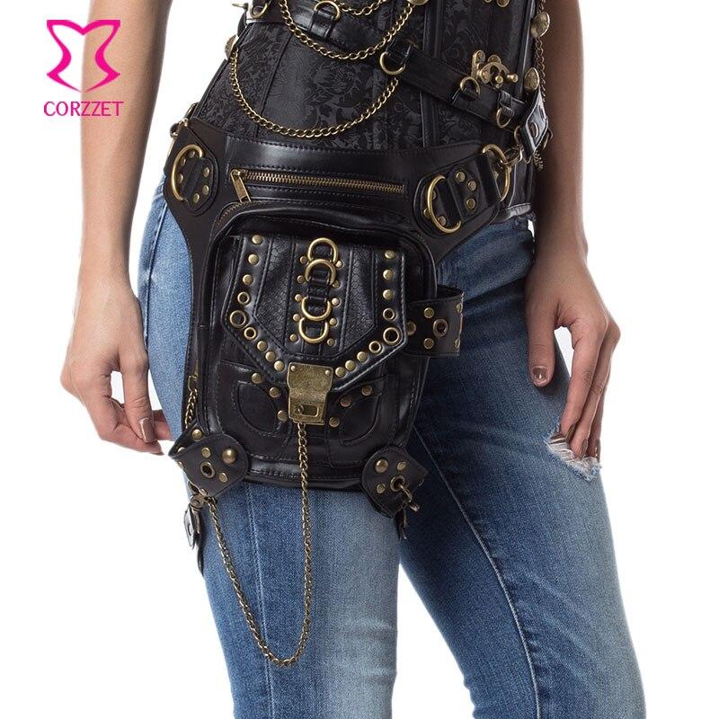 Noir PU Faux cuir Rivet chaîne Steampunk Corset taille ceinture sac Vintage gothique épaule bandoulière Messenger sacs pour femmes hommes