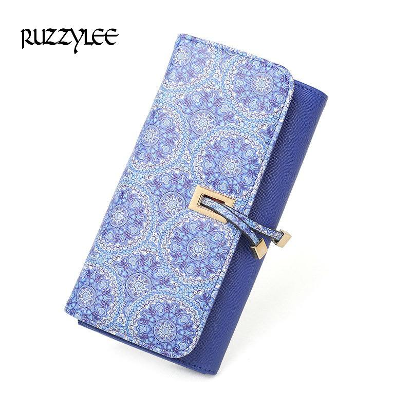 2017 New Women Wallets Brand Design High Quality Pu Leather Printing Wallet Female Hasp Fashion Dollar Price Long Female Purse