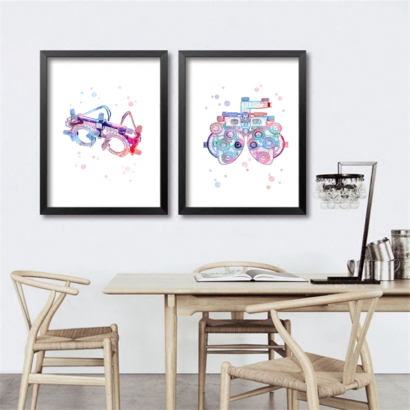 Trial Frame Optometrical Tools Art Optical Poster Prints , Optometry Instrument Painting Eye Clinic Optician Doctor Office Decor