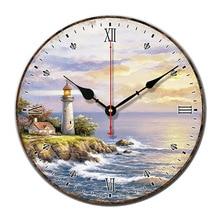 Lighthouse Landscape Retro font b Wall b font font b Clock b font Silent movement of