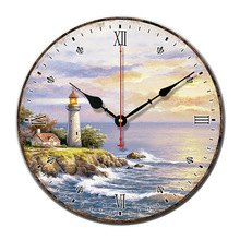 Lighthouse Landscape Retro Wall Clock Silent movement of the clocks European-style simple living room decorations Wooden clock
