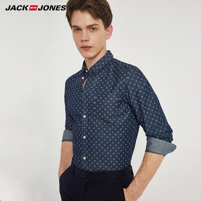 JACKJONES Thương Hiệu Người Đàn Ông NÓNG Giản Dị áo sơ mi Nam áo sơ mi mỏng thường xuyên cotton 100% Nam đứng đầu | 216105034