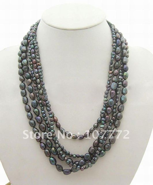 Beautiful! 5 strands Black Pearl Necklace Necklace