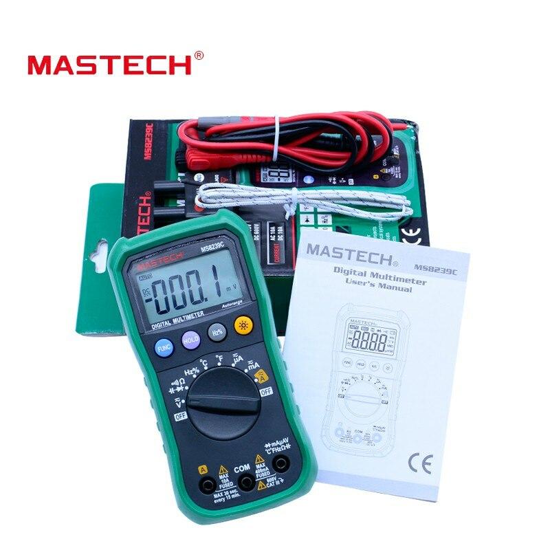 MasTech MS8239C Auto range multimeter 3 3/4 AC DC digital multitester Voltage Current Capacitance Frequency multimetro Tester mastech ms8239c voltage current resistance continuity multimeter