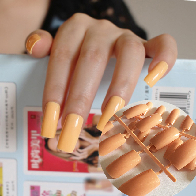 Ultra long Candy Deep Nude Flat Curved DIY False Nails Nail Art ...