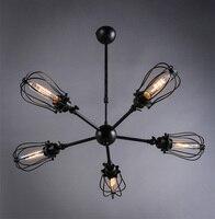 רטרו לופט בסגנון תעשייתי תליון אור מדרגי 5 מנורת מתכת אמנות דקו תאורה בר בית קפה גוף תאורת הנורה אדיסון