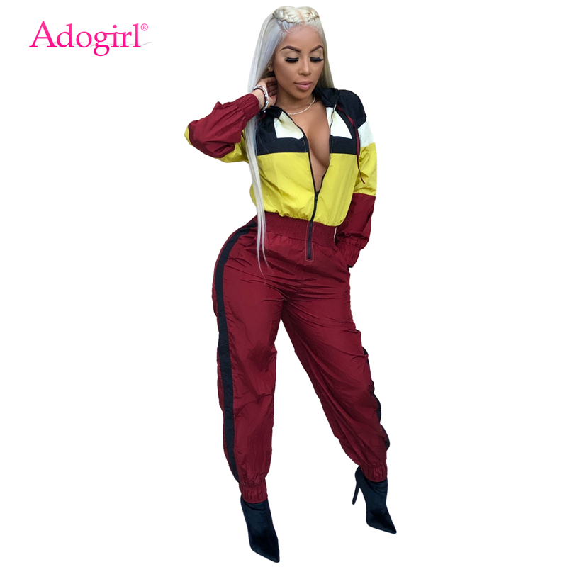 Adogirl Color Patchwork Hooded Jumpsuit Zipper Front Long Sleeve Loose Romper Women Tracksuit Casual Streetwear Female Palysuit