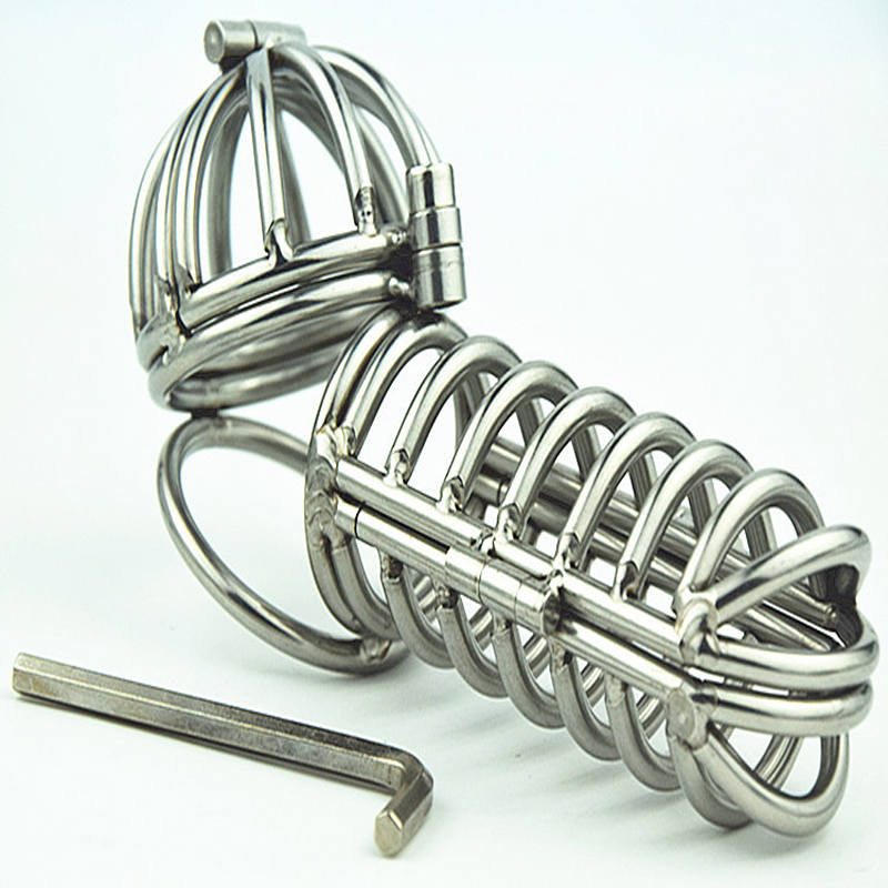 Stainless Steel Lock Ring Bondage Men Ring Cage Male Chastity Device Sex Products for Men Penis Cock Cages wearable penis sleeve extender reusable condoms sex shop cockring penis ring cock ring adult sex toys for men for couple