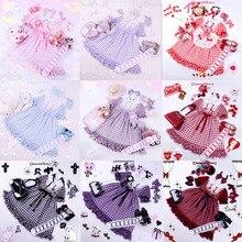 10 цветов Kawaii клетчатое японское женское платье в стиле Лолиты с бантами и коротким рукавом, воротник Питер Пэн, милое цельнокроеное платье