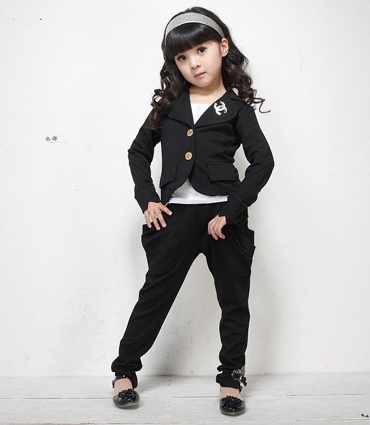 2014 Baby Girl Leisure Suits 4 Colors Clothing Set Cardigan Coat Pants Zipper Butterfly