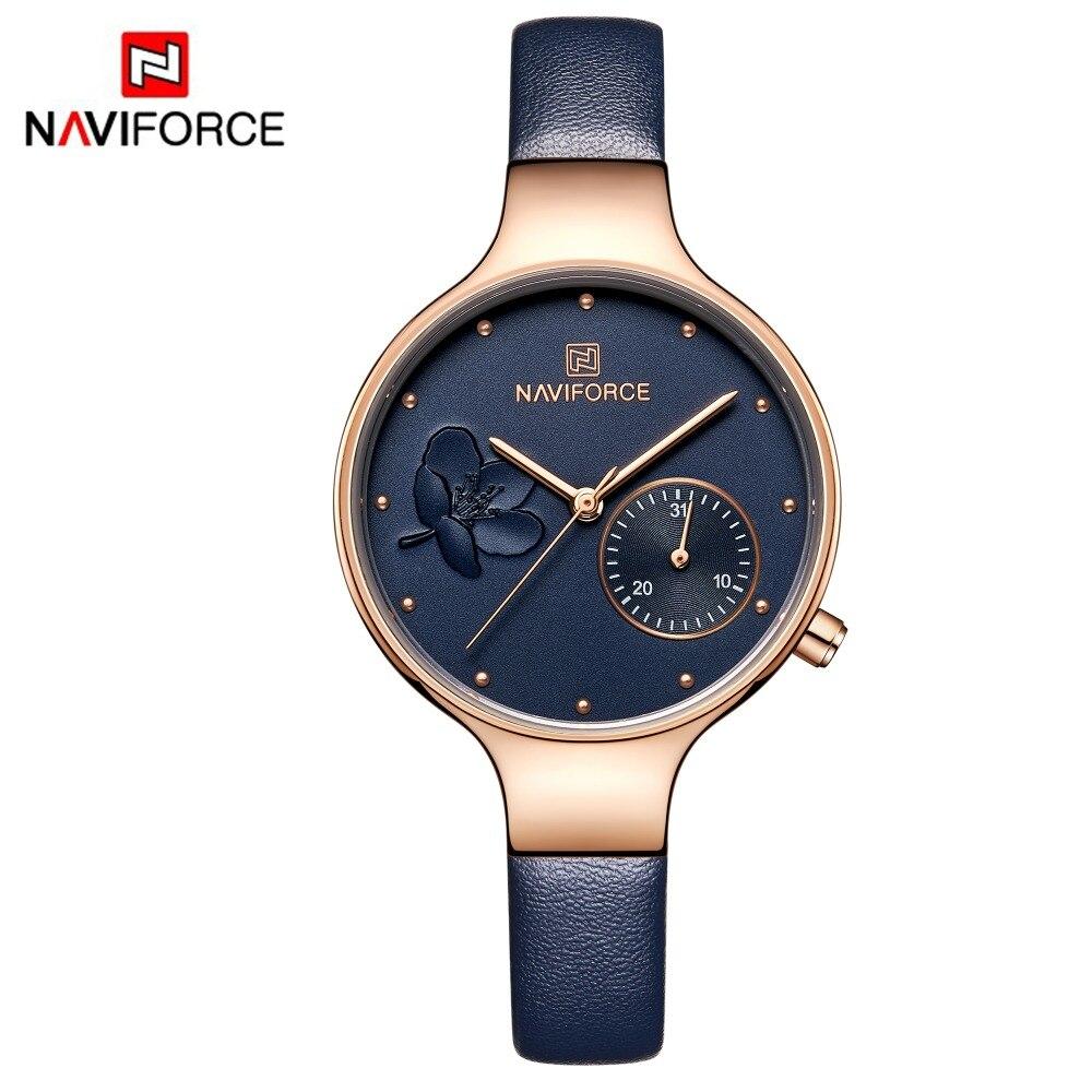 569cf5ff7309 NAVIFORCE las mujeres azul de moda reloj de cuarzo de cuero de dama correa  de reloj Casual de alta calidad impermeable reloj de pulsera regalo para  mujer ...
