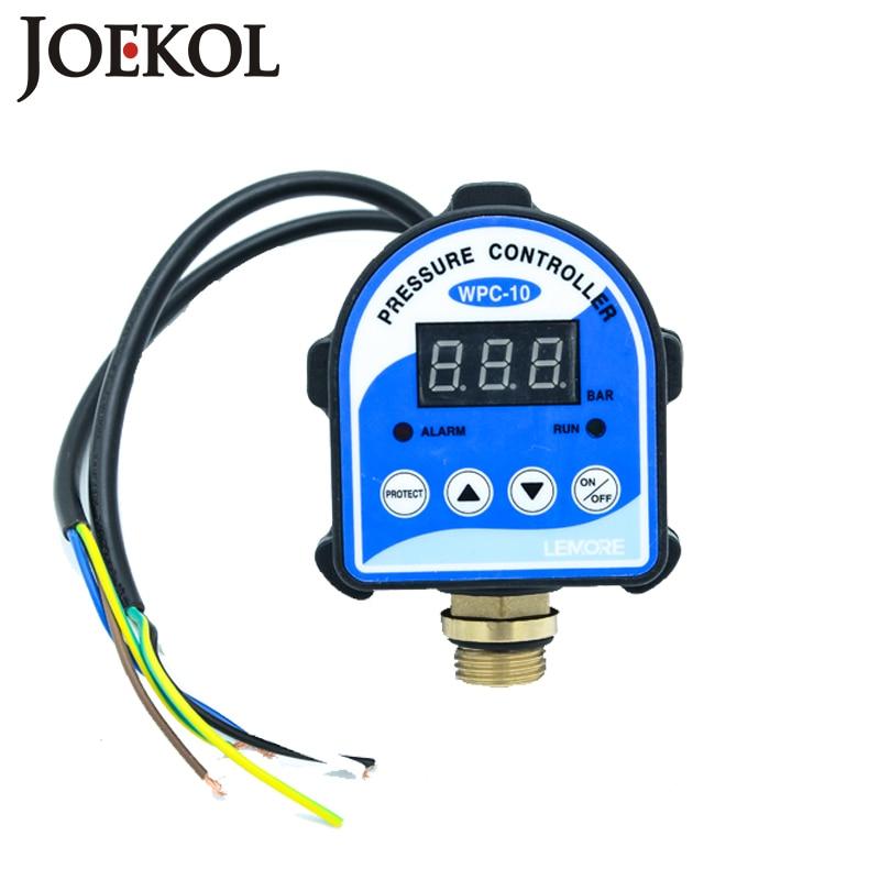 Envío gratuito WPC10 Digital interruptor de presión de agua pantalla Digital electrónica controlador de presión para bomba de agua con G1/2 adaptador