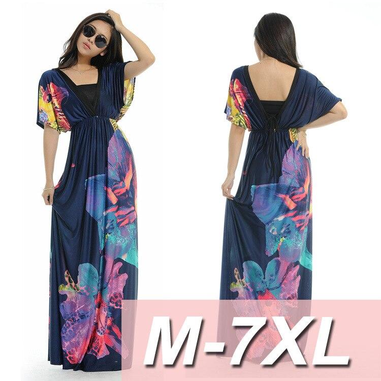 Retro Print Women Summer Long Maxi Beach Dresses V Neck Chiffon Bikini Cover Ups Split Beach Sundress