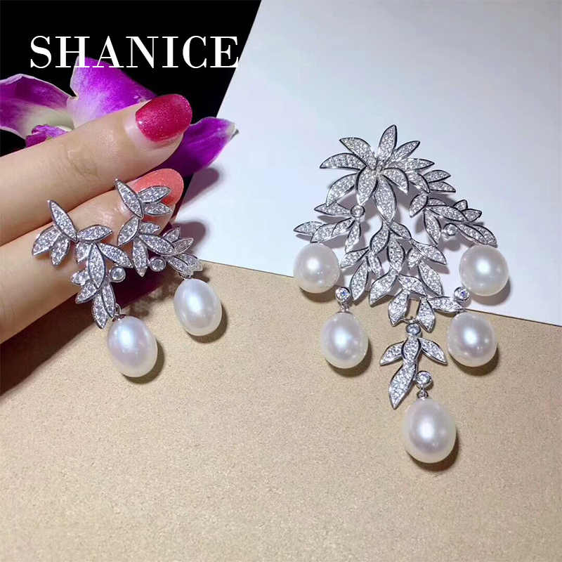 SHANICE Leaf Jewelry Sets Earrings DIY Women Luxury Pearls Necklace Making Findings Paved Zircon Connector Pendants Accessories