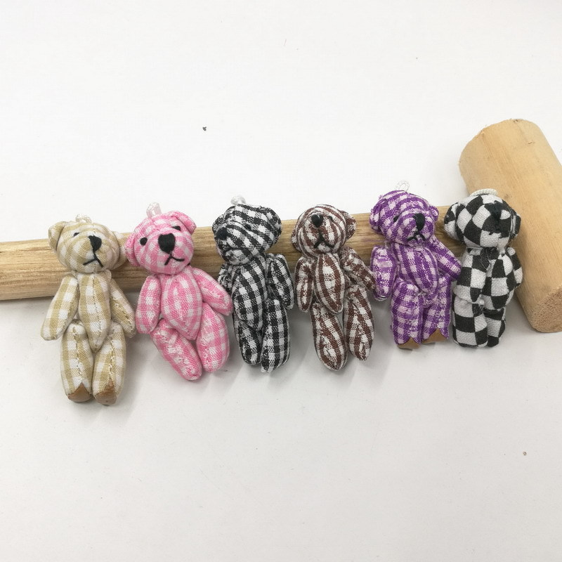 5pcs 4.5cm Kawaii Teddy Bear Doll Plush Stuffed Keychain Toy Bag Pendant Cute Mini Doll Toys For Children Gift