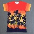 Unisex de Las Mujeres de Gran Tamaño De Palma De Coco Camiseta Señoras Oceanside Causal Remata camisetas 2016 Nuevo Diseño de Moda Europea