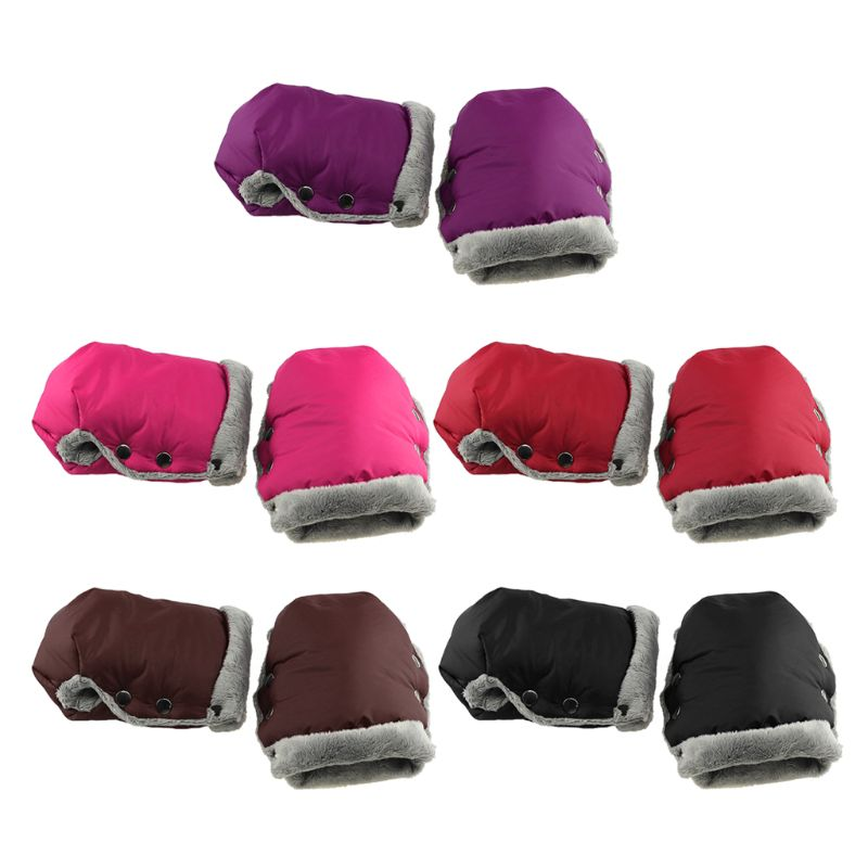 Waterproof Fleece Gloves For Stroller Children Cart Hand Muff Stroller Warmer Glove Wheelchair Accessories Winter Cover