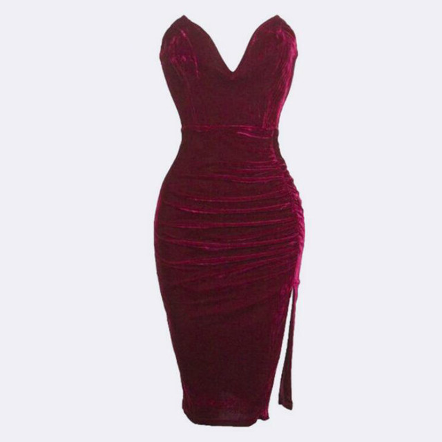 New winter fashionable Bandage dress For women sexy from shoulder strapless  tight-fitting midi dress Casual Velvet dress 07287a0686ac