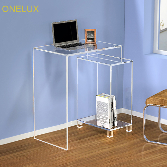 Attrayant Waterfall Acrylic Storage Console Table,Lucite Home Office Desk With  BookCase