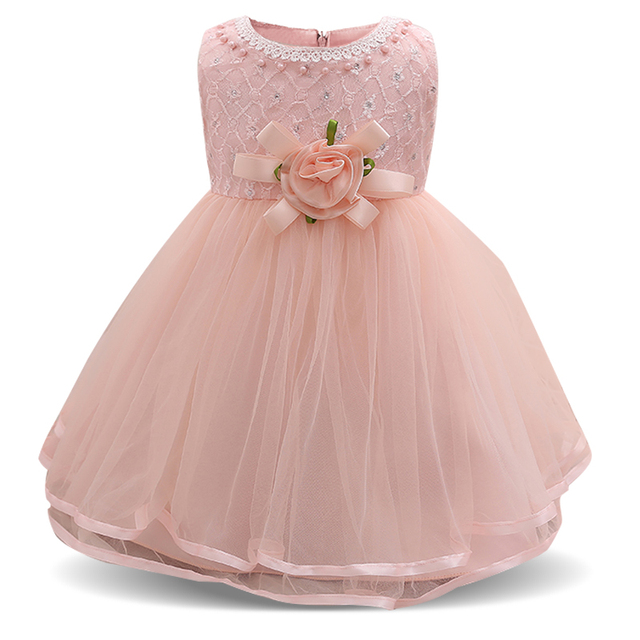 605a304b7e6e Flower Baby Wedding Dress Cute 1 Year Birthday Baby Girl Party Dress ...