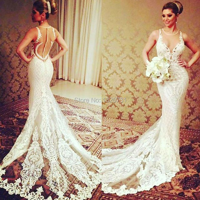 2017 New Fashion Vestido De Noiva Embroidered Lace On Net Beading Wedding Dresses O-Neck Mermaid See Through Back Bridal Gown