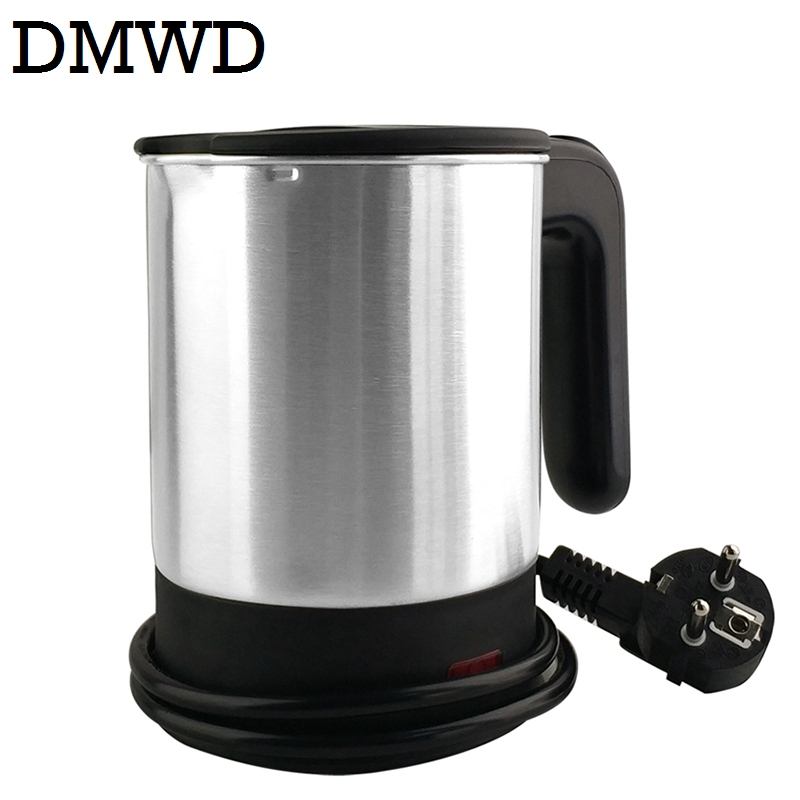 DMWD Dual Voltage Travel water Heating Kettle MINI Electric kettle cup heater Portable stainless steel tea pot boiler 110V-220V new arrival portable travel abroad electric kettle 0 5l mini electric kettle wst 0903 european travel kettle 110 240v 550 650w