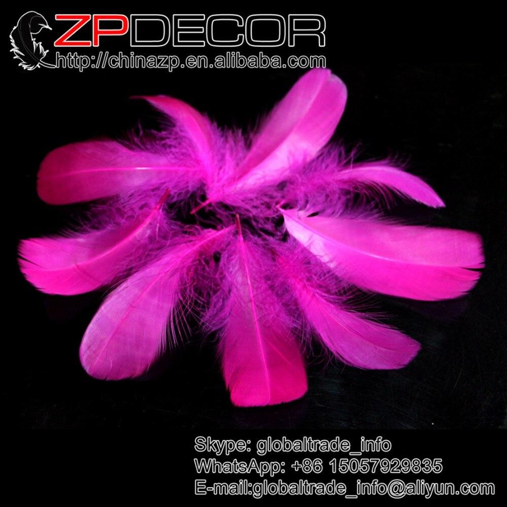 White craft feathers bulk - Zpdecor Feather Manufacturer 100pcs Lot Beautiful Fuchsia Goose Nagoire Loose Feathers Bulk Diy Craft Wedding