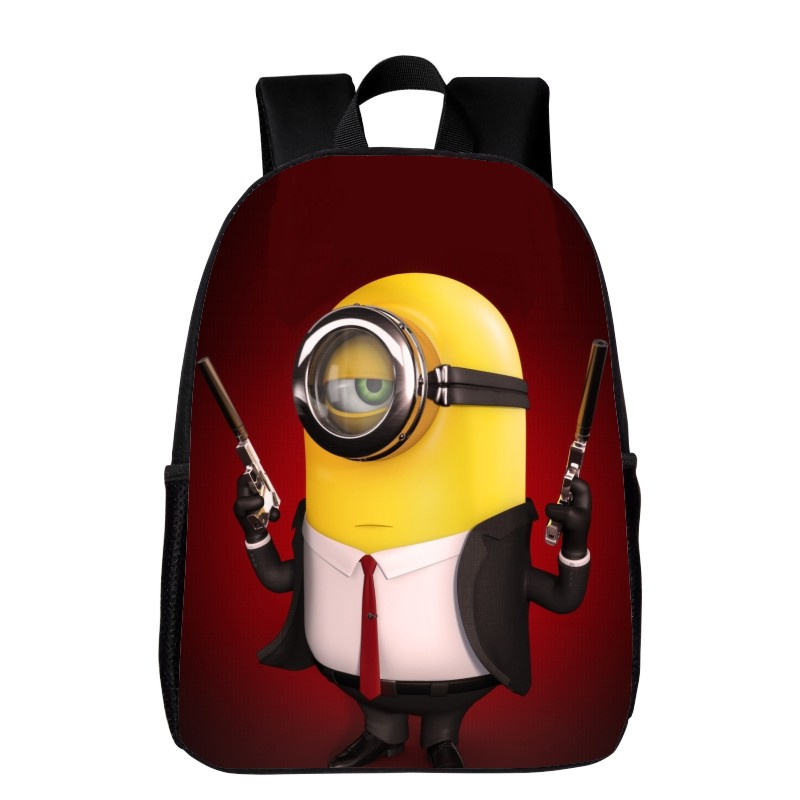 Hot Sale Polyester 16 Inches Printing Minions Cartoon Black font b Kids b font Baby School