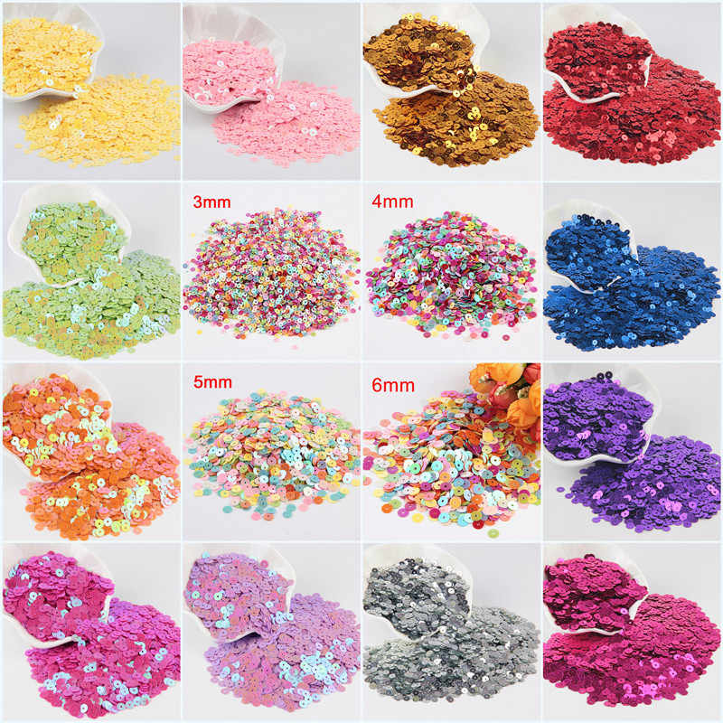Sequin 3mm 4mm 5mm 6mm Flat Sequin Round Loose Sequins for Crafts Paillette Sewing Garment Bags Shoes DIY Accessories 10g