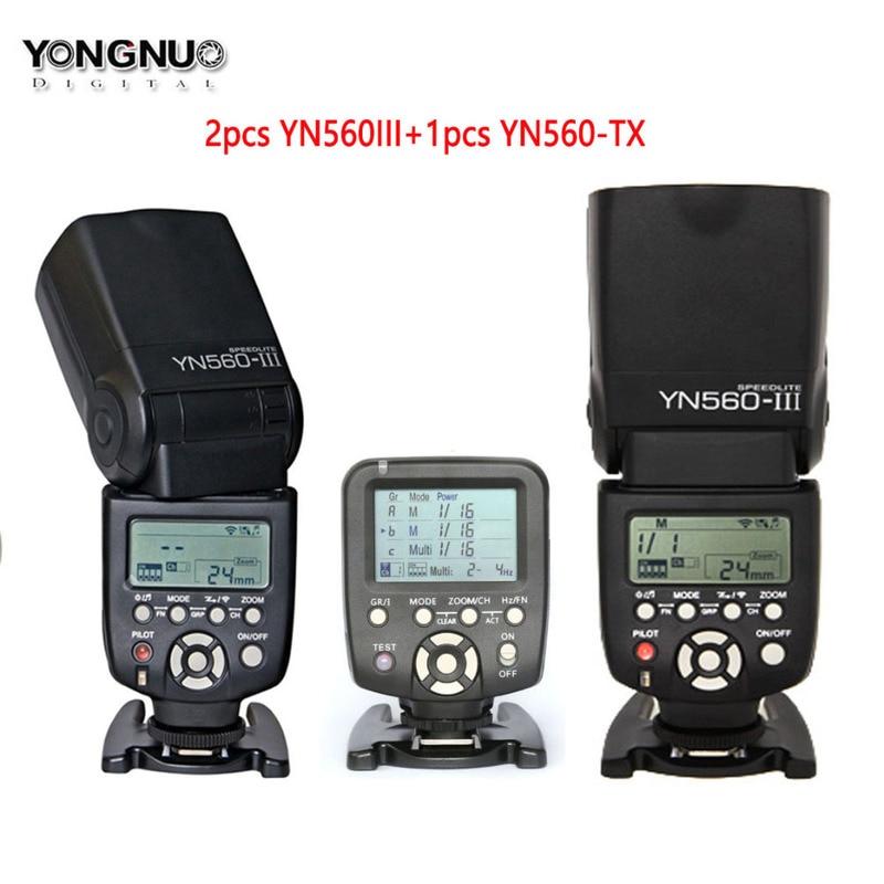 2pcs Yongnuo YN560III YN560 III Flash Speedlite Manual Radio Speedlight +YN560-TX Wireless Controller for Canon Nikon DSLR 2 pcs yongnuo yn560 iii yn560iii flash speedlite flashlight for canon nikon
