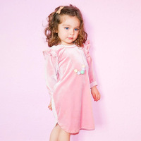 2017 girls Autumn New Europe small baby boy western style Children dress girls long sleeved child Home sleepwear kids Nightgowns