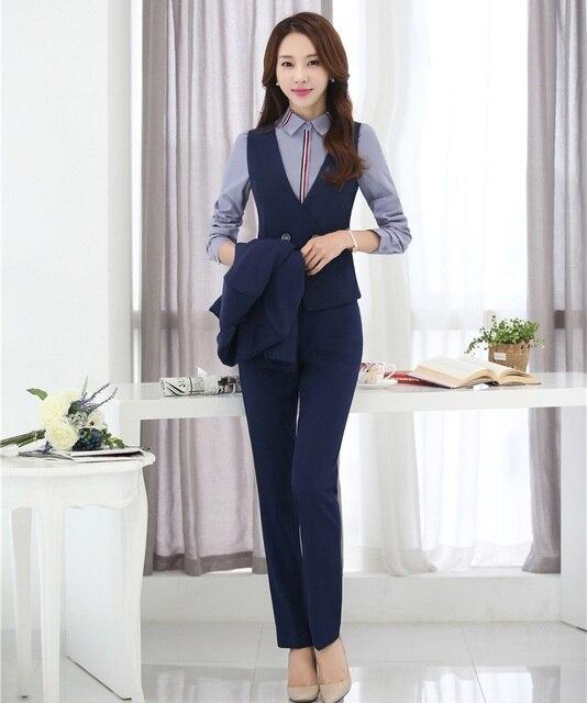 Pantalón Trajes mujeres chaleco y chaleco 2 unidades pantalones y Top Sets  formal señoras negocios Trajes 8a59f723c75b