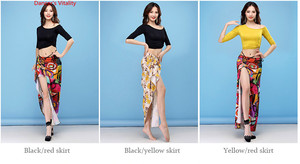 Image 5 - New Dance Wear Women Class Wear Silk Ice Fabric Stretchy Off shoulder Sleeves Classic Belly Dance Skirt Costume Set
