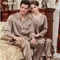 New 2015 Silk Pajamas Women Luxurious Love Sleepwear Mens Silk Satin Dark brown Pyjamas Women's lounge Couple Pajama Sets